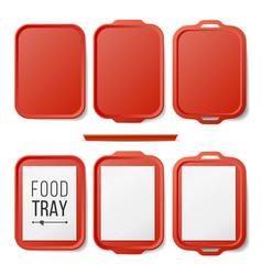 Empty plastic tray salver set rectangular vector