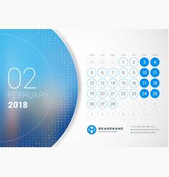 February 2018 desk calendar for 2018 year design vector