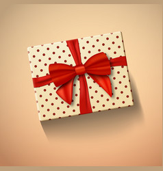 Gift box with red ribbon realistic present in vector