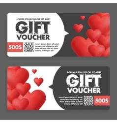 Gift vouchers with colored hearts Great for vector image vector image