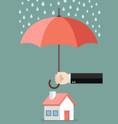 hand holding an umbrella protecting house vector image vector image