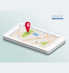 Isometric smartphone with map vector