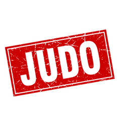 Judo square stamp vector
