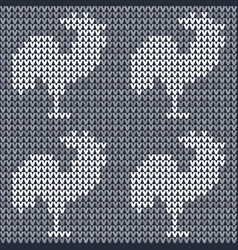 knitted fabric with roosters vector image