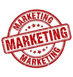 Marketing red grunge round vintage rubber stamp vector