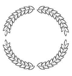 Olive branches forming circle in monochrome vector