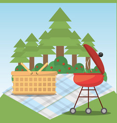 Picnic grill basket blanket forest tree vector