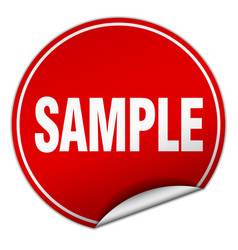 Sample round red sticker isolated on white vector