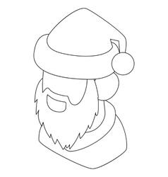 Santa claus head icon outline style vector