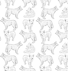 seamless pattern with dogs Shepherd Sketch drawing vector image vector image