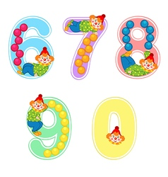 set of numbers with clown juggler from 6 to 9 vector image vector image