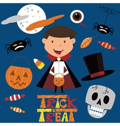 Set with boy in vampire costume and halloween obje vector