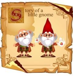 Story of a little gnome two cute grandfathers vector