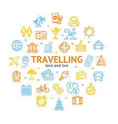 travel and tourism round design template line icon vector image vector image
