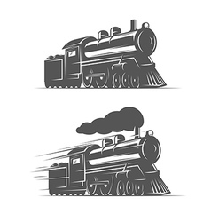 Vintage steam train isolated on white background vector