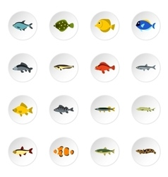 Fish icons set flat style vector