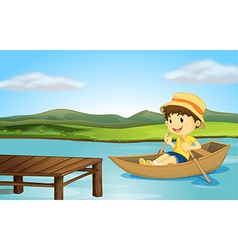 Boy and boat vector