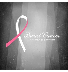 Ribbon of breast cancer on abstract film noir vector