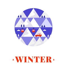 Mountain winter card vector