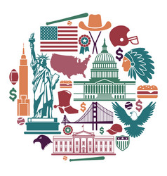Symbols of the usa in the form of a circle vector