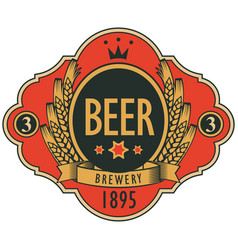Beer label with coat of arms ears of wheat vector