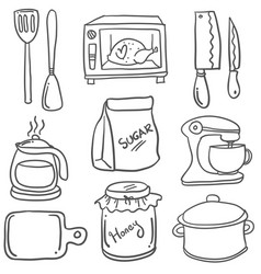 Kitchen set doodles vector