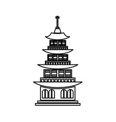 Chinese building ancient temple tower pagoda vector