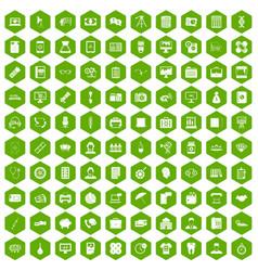 100 department icons hexagon green vector