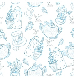 Vintage tea porcelain seamless pattern vector