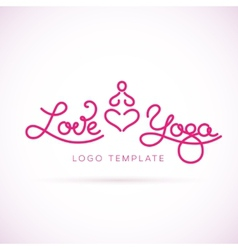 Love yoga abstract logo template vector