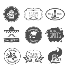 Spices labels black vector