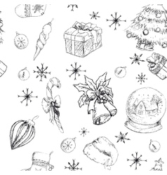 X-mas seamless hand drawn backgrownd bw vector