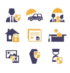 Set insurance icons vector