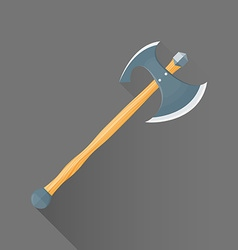 Flat style medieval battle double ax icon vector