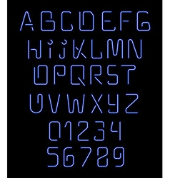 Font neon realistic brilliant fluorescent font for vector