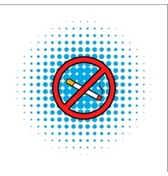 Badge no smoking comics icon vector