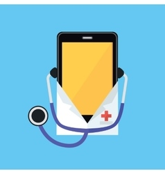 Phone in a white coat and stethoscope vector