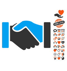 Acquisition handshake icon with dating bonus vector