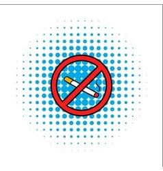 Badge no smoking comics icon vector image