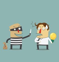 Bandit robbing the idea of a businessman vector