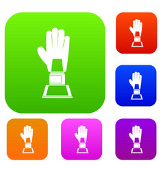 baseball glove award set color collection vector image vector image