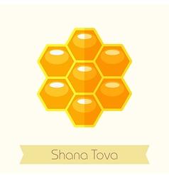 Bee honeycomb Rosh Hashanah icon Shana tova vector image vector image