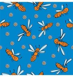 cartoon bees background vector image
