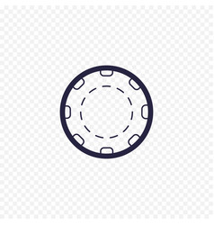 casino chip simple line icon poker game thin vector image
