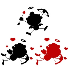Cupid silhouette cartoon vector image vector image