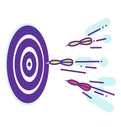Darts fly to the target lineart vector