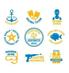Diving seals set vector
