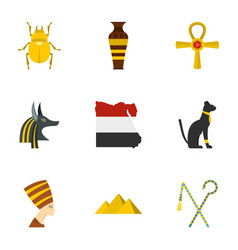 Egyptian pyramids icons set cartoon style vector
