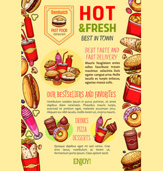 Fast food restaurant poster template vector