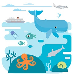 flat of sea and sea animals vector image vector image